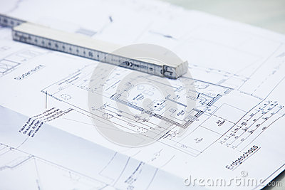 Architectural drawings and ruler