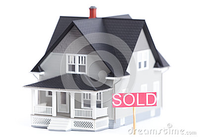 Architectural model with Sold sign, isolated