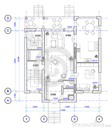 Black And White Floor Plan Of A House. Stock Illustration - Image