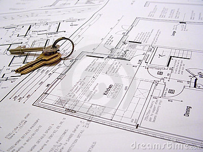 Architectural plans with keys