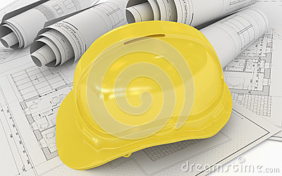 Architectural Project Plan with Helmet