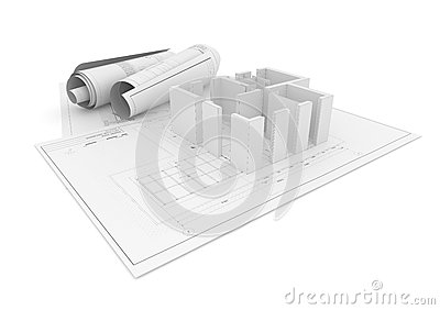 Architectural Project Plan on White Background