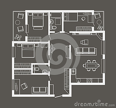 Architectural Sketch Plan Of Four Bedroom Apartment On Gray
