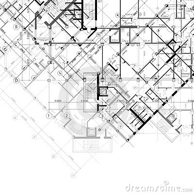 Architectural vector black and white background