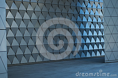 architectural wall design at the empty lobby