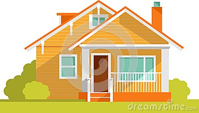 Architecture background with family house Vector Illustration