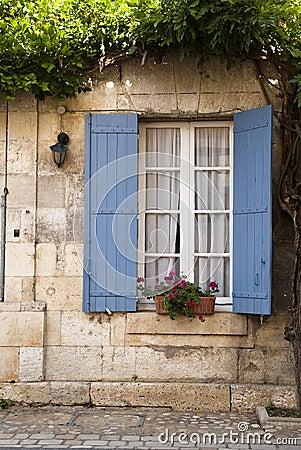 Architecture blue shutter Saint Jean de Cole