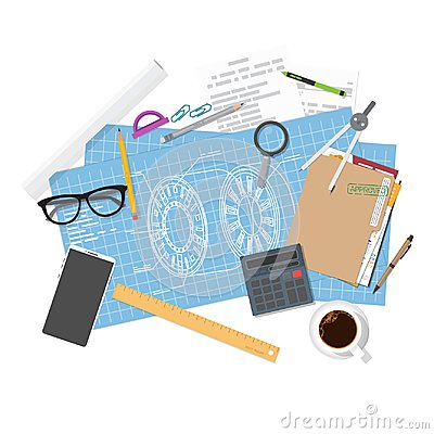 Free Architecture Blueprints And Engineer Workspace Stock Photo - 119468120