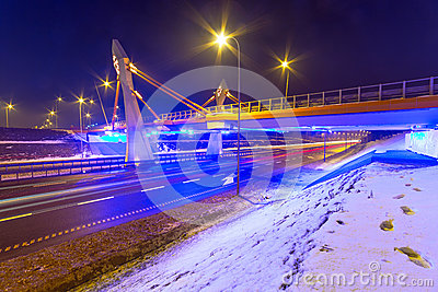 Architecture of bridge over bypass in Gdansk
