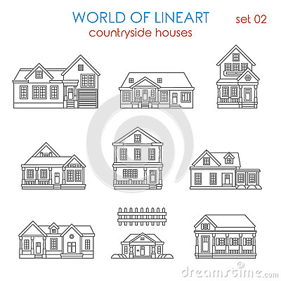 Architecture Countryside House Townhouse Lineart Vector