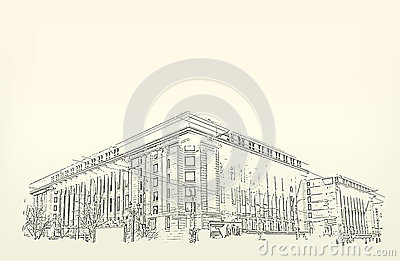 Architecture croquis dessin du b timent illustration de for Dessin batiment 3d