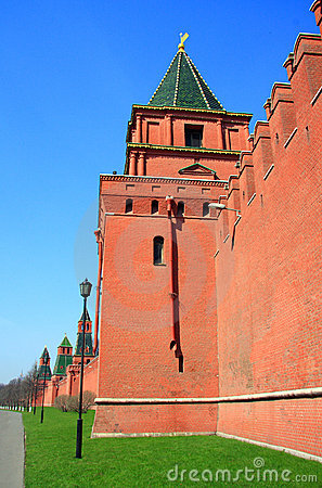 Architecture elements and tower of Kremlin Wall in