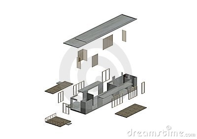 Architecture Exploded in axonometric