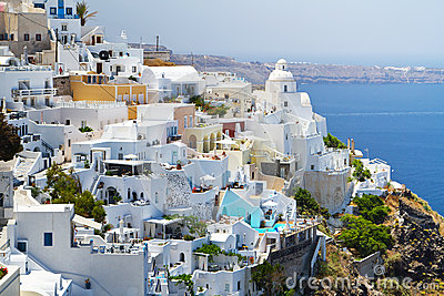 Architecture of Fira town in Greece