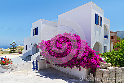 Architecture of Fira town on Santorini island