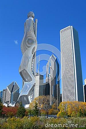 Architecture futuriste chicago photo stock image 64939653 for Architecture futuriste