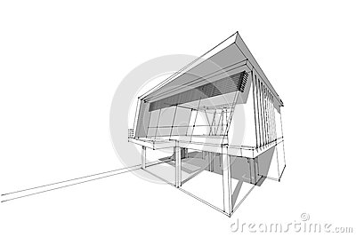 Architecture Drawing Modern House 3d Illustration Stock Illustration Image 74139275