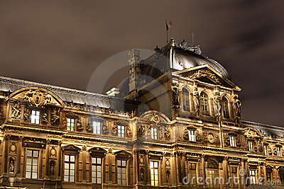Architecture of Louvre palace Paris