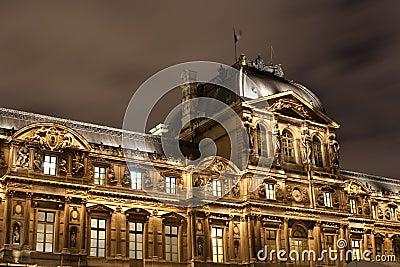Architecture of Louvre palace Paris