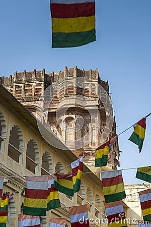 Architecture of Mehrangarh Fort in Jodhpur, India