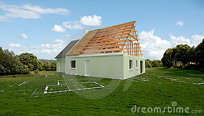 Architecture model in a meadow