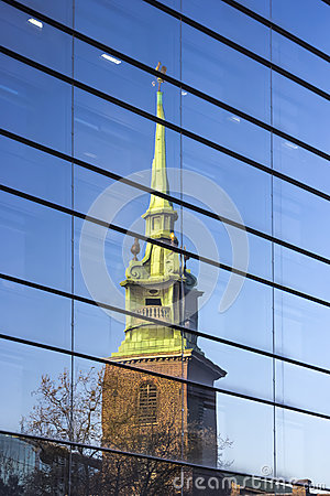 Free Architecture Of London, Business District, Reflect Of A Church On A Building Royalty Free Stock Photos - 36953518