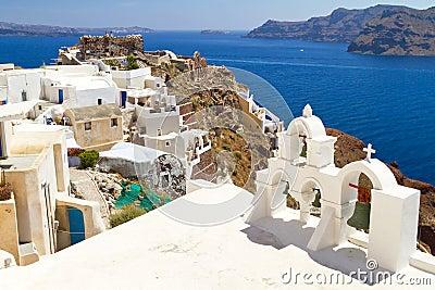 Architecture of Oia village on Santorini island
