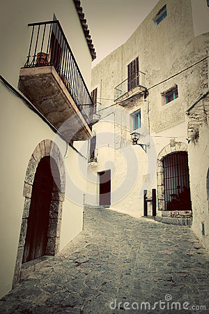 Architecture of old city of Ibiza, Spain