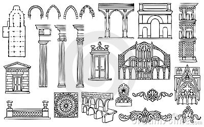 Architecture and ornaments vector set