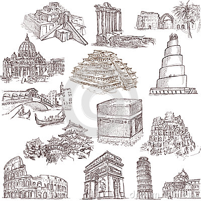 Famous Monuments Drawings Architecture Places