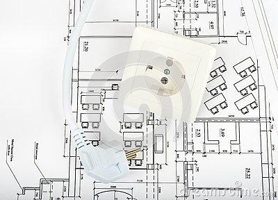 Architecture Plan And Rolls Of Blueprints Stock Photo - Image ...