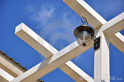 Architecture roof and frame with lamp