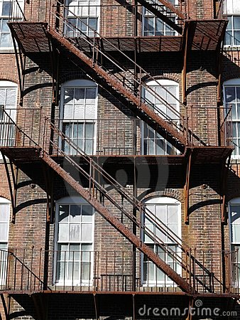 Architecture: rusty steel fire escape v