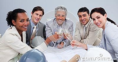 Architectutal team celebrating a success