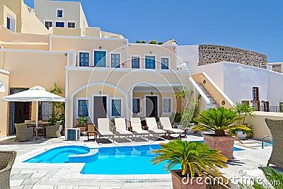 Architectuur van stad Fira op eiland Santorini