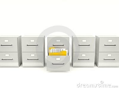 Archive cabinet with folders