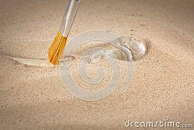 Archäologie- und Kriminalistikknochen im Sand