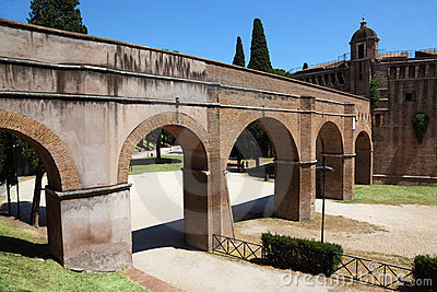 Archs and road near Sant  Angelo Castel at summer