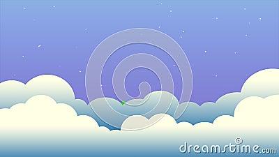 Arco-?ris no c?u noturno com o gr?fico do movimento dos desenhos animados das nuvens e das estrelas filme
