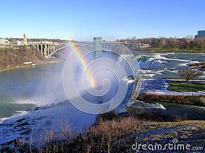 Arco-íris sobre a ponte de Niagara Falls e de arco-íris