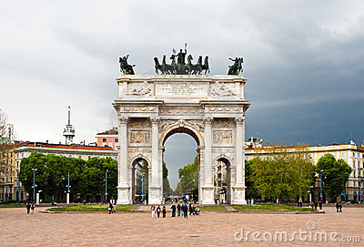 Arco della Pace, famous landmark in Milan Editorial Stock Photo