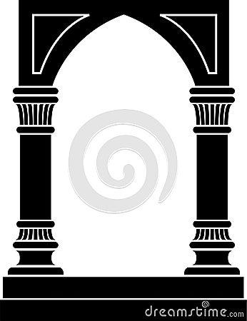 Arco gótico y frontera de columnas