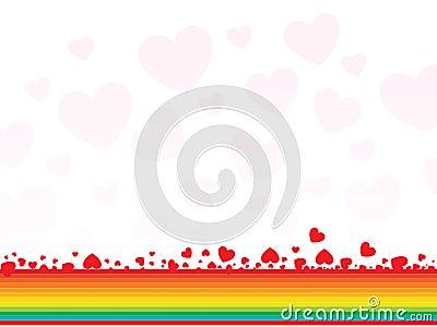 Arco iris abstracto con los corazones - tarjeta de las tarjetas del día de San Valentín