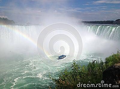 Arco iris en las caídas de herradura, Niagara Falls Foto editorial