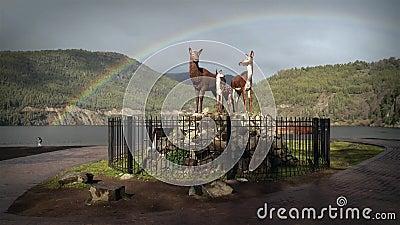 Arco iris en San Martin De Los Andes, la Argentina almacen de metraje de vídeo