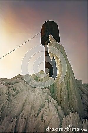Arctic landscape with frozen tower