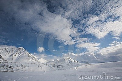 Arctic landscape, glaciers and mountains