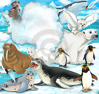 Arctic scenery - cartoon style with animals