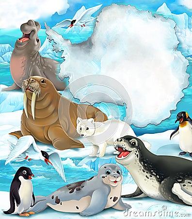 Arctic scenery - cartoon style with animals
