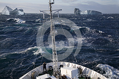 Arctic - Ship and Icebergs - Greenland Editorial Stock Photo